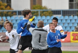 U-17 koondis eelmisel aastal Saksamaa vastu. Foto: Märt Vassiljev