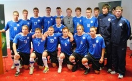 Eesti U-19 koondis aasta algul turniiri pressikonverentsil. Foto: Gertrud Alatare
