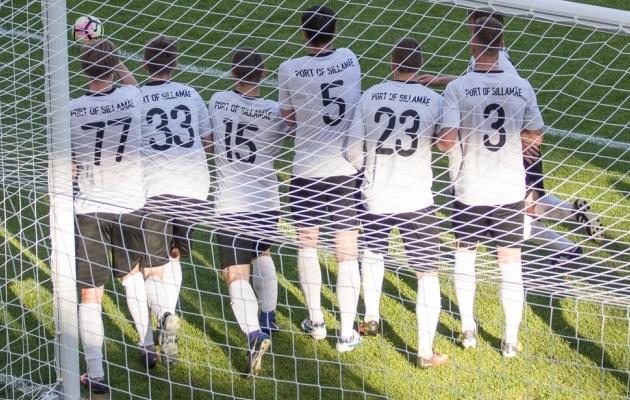 Sillamäe hoidis täna teist mängu järjest oma värava puhtana. Foto: Oliver Tsupsman
